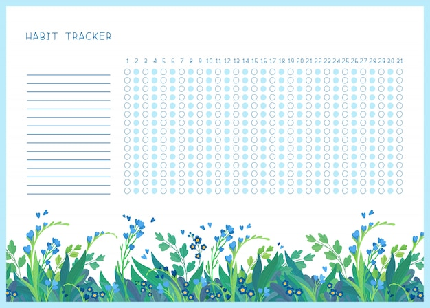 Habit tracker for month flat vector template. spring wild flowers themed blank, personal organizer with decorative frame. summer season floral border with stylized lettering Free Vector