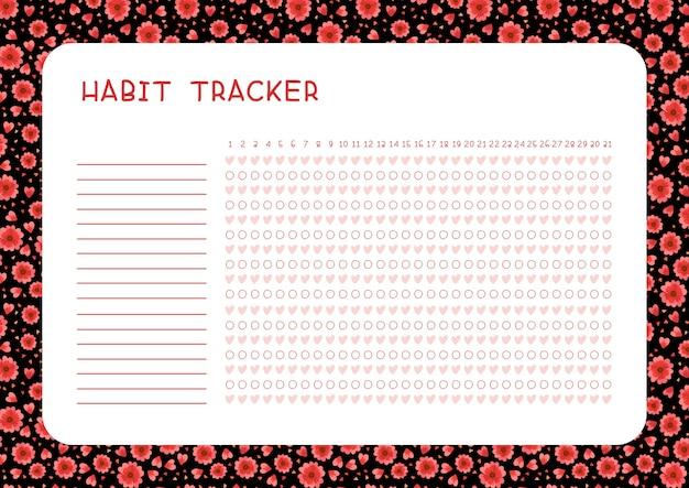 Tracciatore di abitudini per la pagina del pianificatore del modello del mese con fiori rossi e cuori su sfondo nero Vettore gratuito