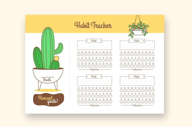 Habit tracker print journal with cactus Free Vector