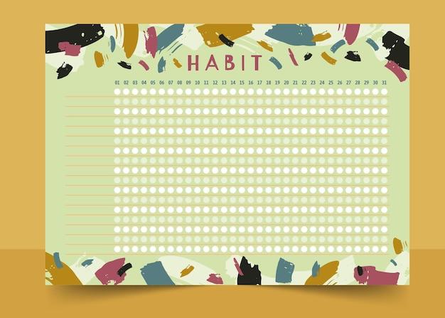Habit tracker template paint brush strokes Free Vector