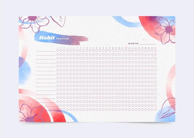 Шаблон отслеживания привычек акварельные цветы Бесплатные векторы