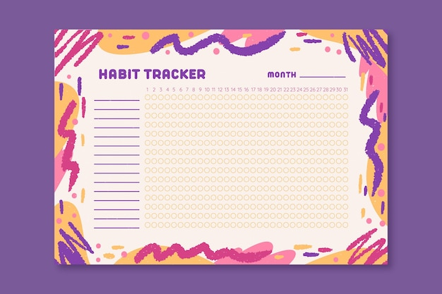 Habit tracker with colored wavy lines Free Vector