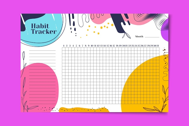 Habit tracker with vivid colored stains Free Vector