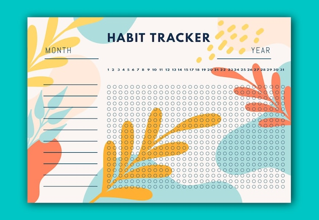 Habit tracker with yellow and red leaves Free Vector