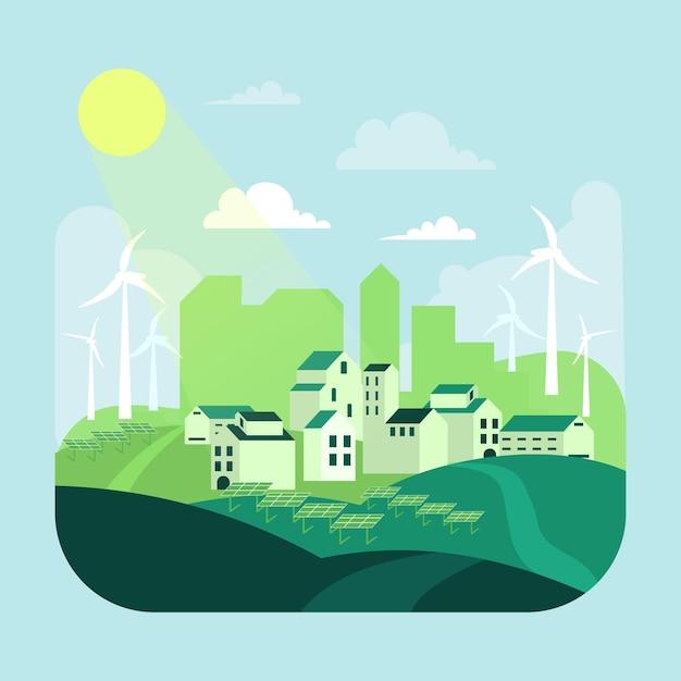 緑の町の生息地の日イラスト 無料ベクター