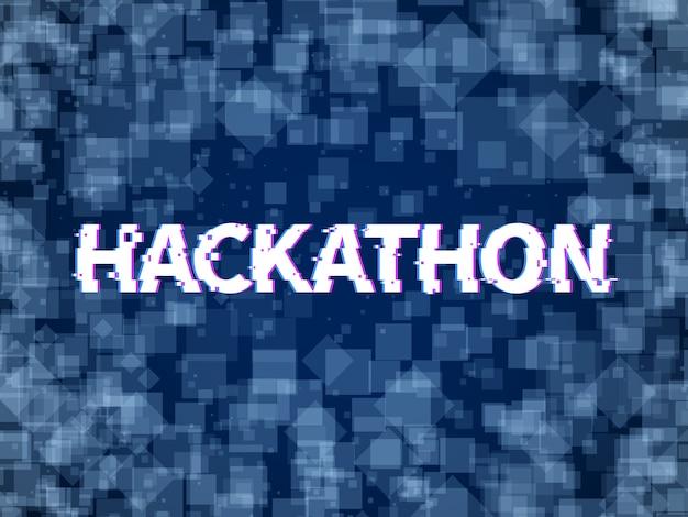 ハッカソン。プログラムコード、ソフトウェアマラソン。ハック日、hackfestまたはcodefestイベントのハッカソンのベクトルの背景 Premiumベクター