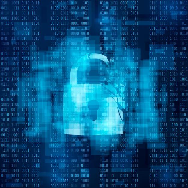 Hacked firewall concept. broken security system, cybercrime.   broken lock on matrix background Premium Vector