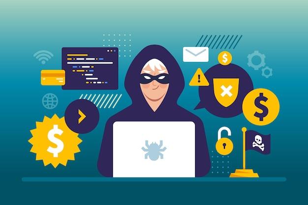 Illustrazione di concetto di attività del pirata informatico con l'uomo e il computer portatile Vettore gratuito