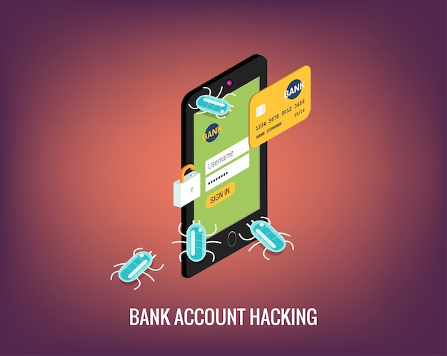 Hacker activity mobile phone and viruses bank account Vector