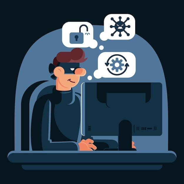 Attività di hacker che ruba dati dagli account Vettore gratuito