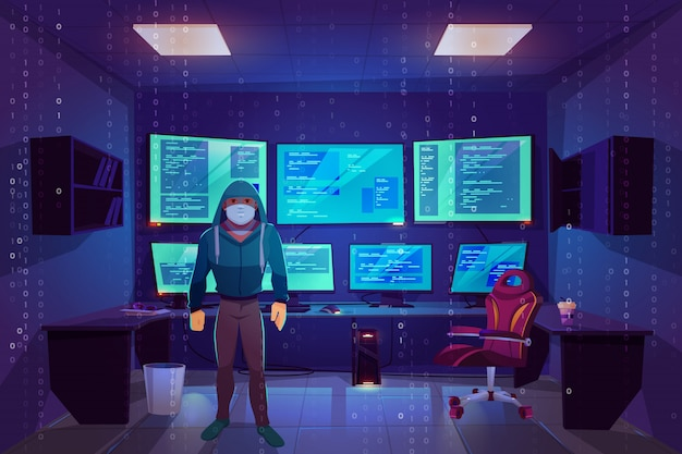Hacker anonymous in mask in server room with multiple computer monitors displaying secret information Free Vector