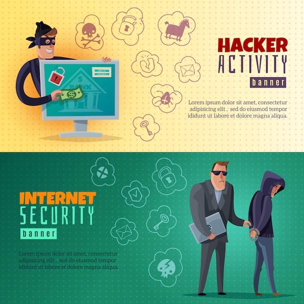 Hacker cartoon horizontal banners Free Vector