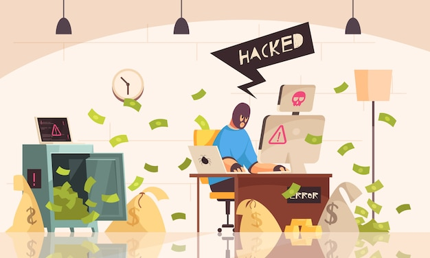 Hacker computers composition with man in mask sits in room and steals information using a computer vector illustration Free Vector