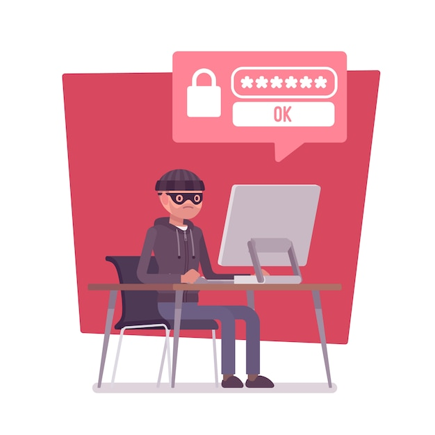 Hacker cracking computer password Premium Vector