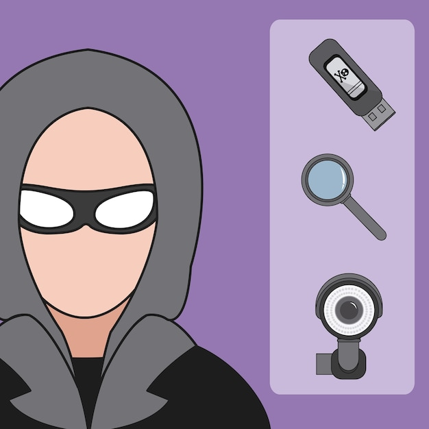 Hacker and cyber security icons vector illustration graphic design Premium Vector