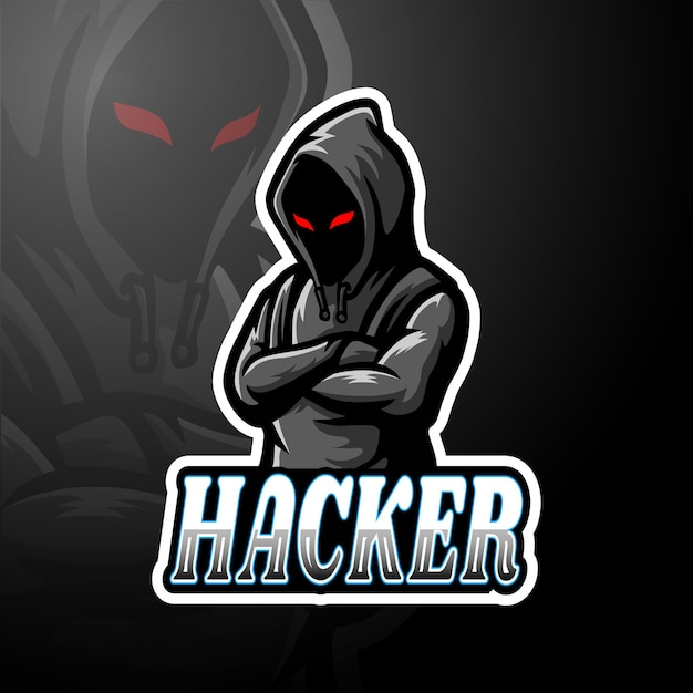 Хакерский киберспорт логотип талисман Premium векторы