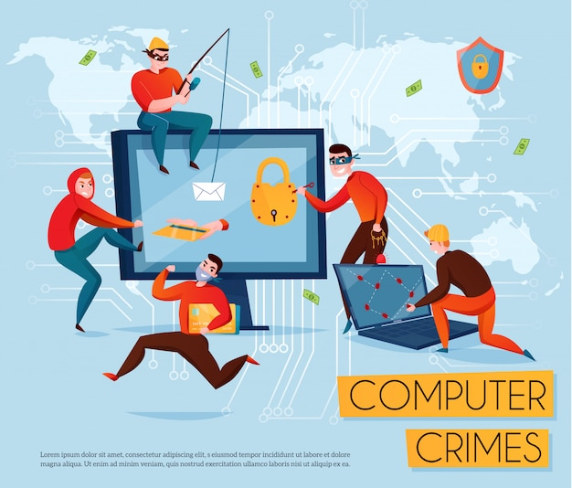 Hacker group composition with computer crimes headline and five scammers steal information  illustration Free Vector