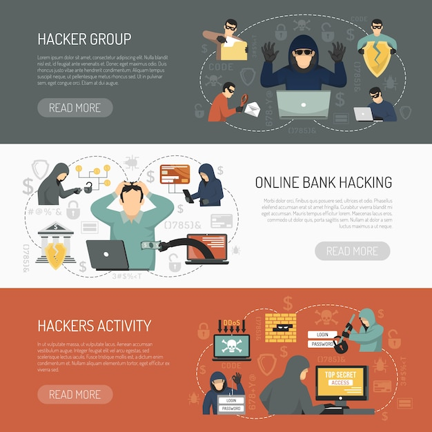 Hacker horizontal banner set Free Vector
