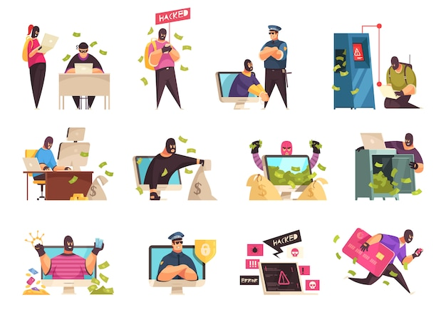 Hacker icon set man in mask on face steal information and money vector illustration Free Vector