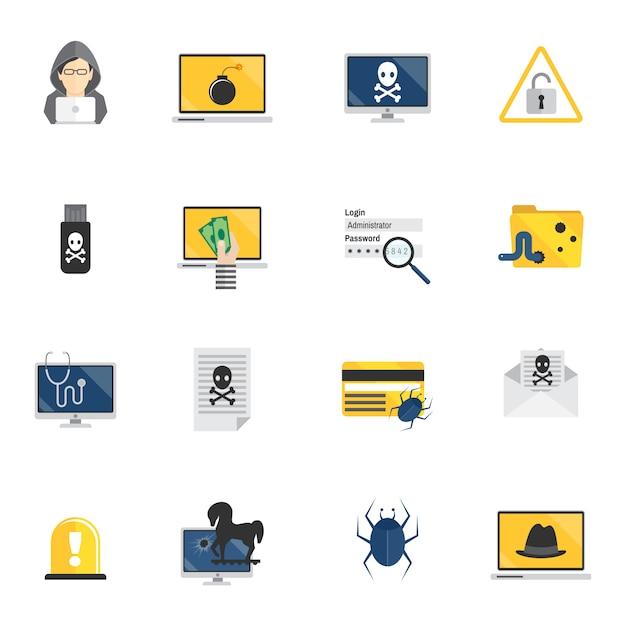 Hacker icons flat Premium Vector