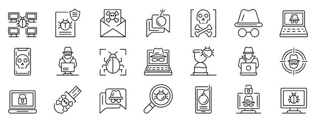 Hacker icons set, outline style Premium Vector