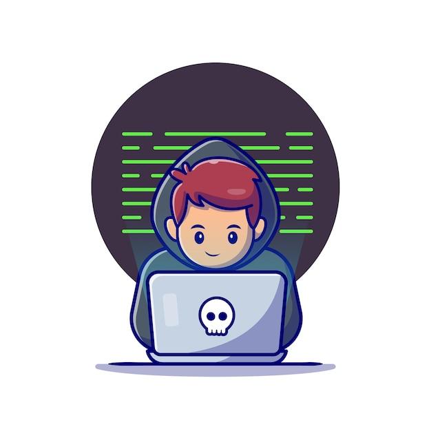 Хакер работает ноутбук мультфильм значок иллюстрации. концепция значок технологии изолированы. плоский мультяшном стиле Бесплатные векторы
