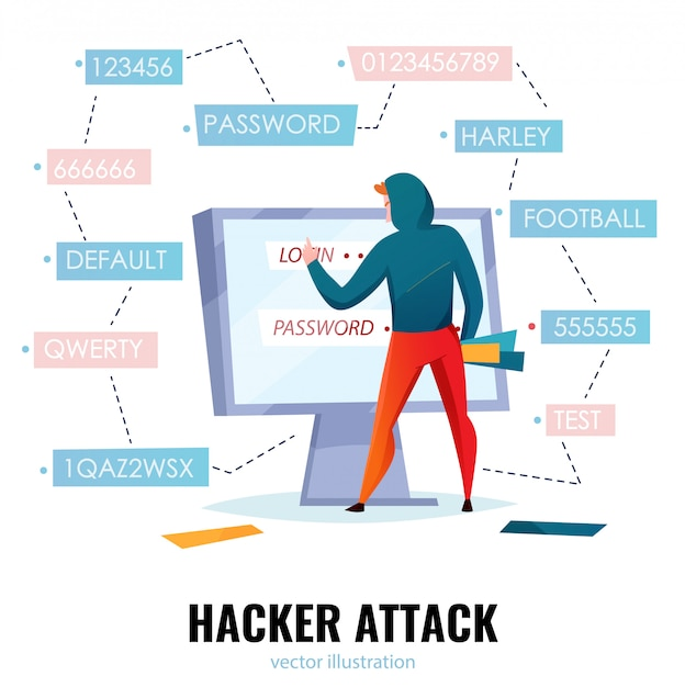 Hacker password composition with hacker attack headline and man makes password guessing  illustration Free Vector