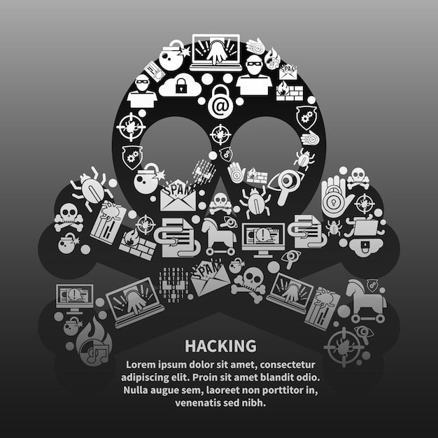Hacker skull with text template Free Vector