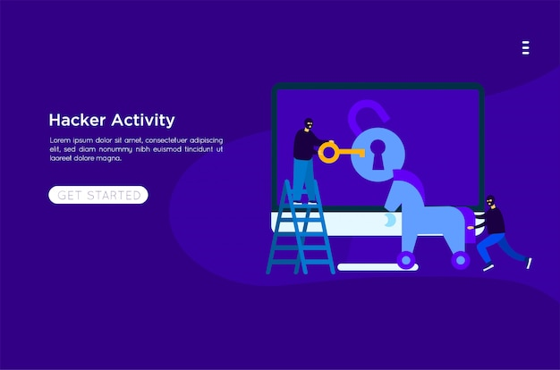Hacker steal illustration Premium Vector