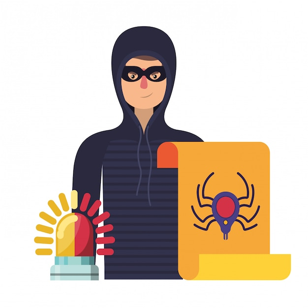 Hacker stealing information avatar character Premium Vector