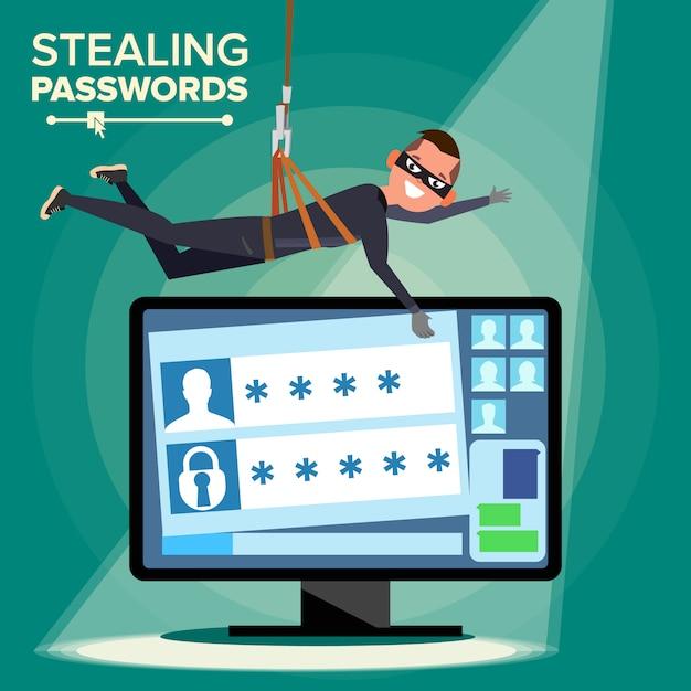 Hacker stealing password Premium Vector