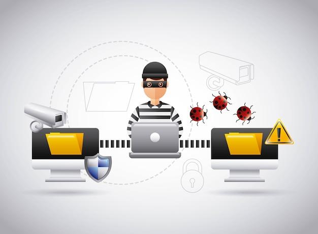 Hacker theft file information laptop virus problem Premium Vector