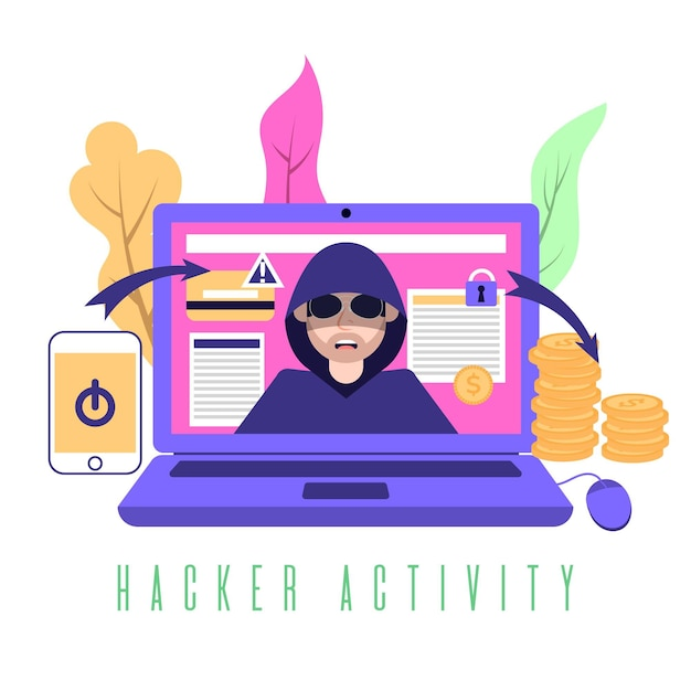Ladro pirata informatico che ruba informazioni da altri account Vettore gratuito