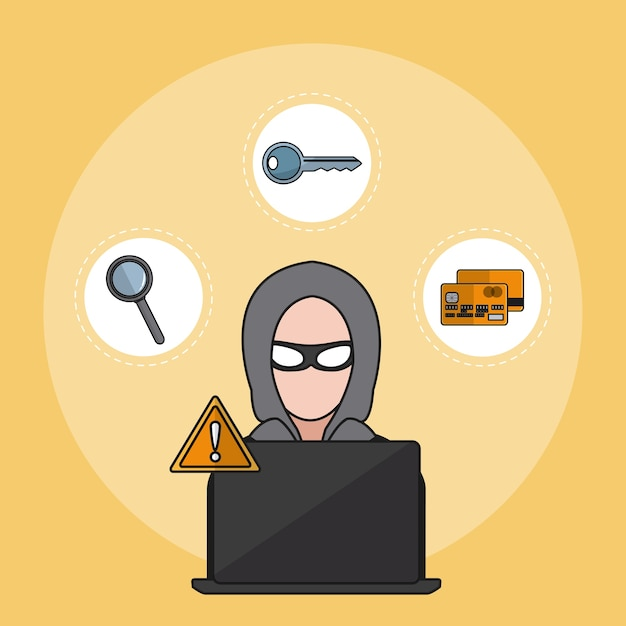 Hacker with security round symbols vector illustration