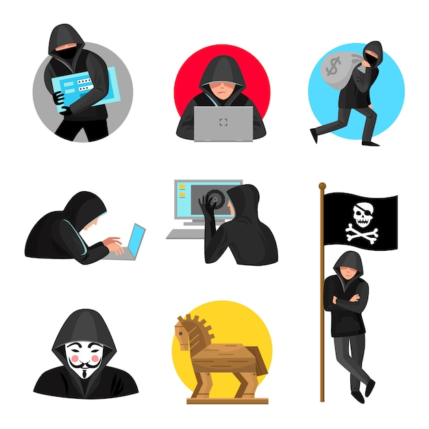 Hackers characters symbols icons collection Free Vector