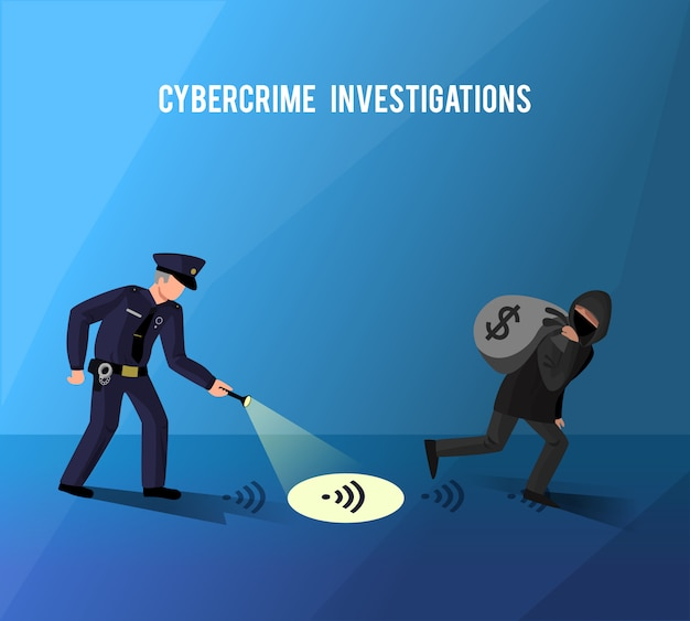 Hackers cybercrime prevention investigation flat poster Free Vector