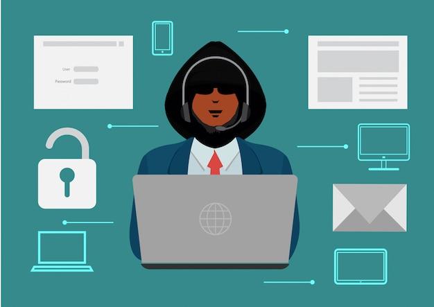 ハッカーが情報を盗みます。ハッカーが個人情報を盗みます。ハッカーは情報をアンロックし、コンピュータデータを盗みそして罪を犯します。 Premiumベクター