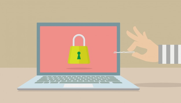 Hackers trying to penetrate the security of your computer. Premium Vector