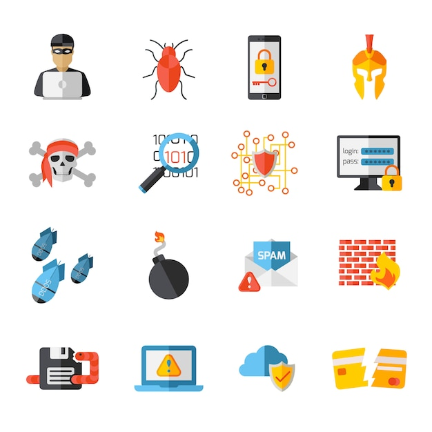 Hacking elements icon set Free Vector
