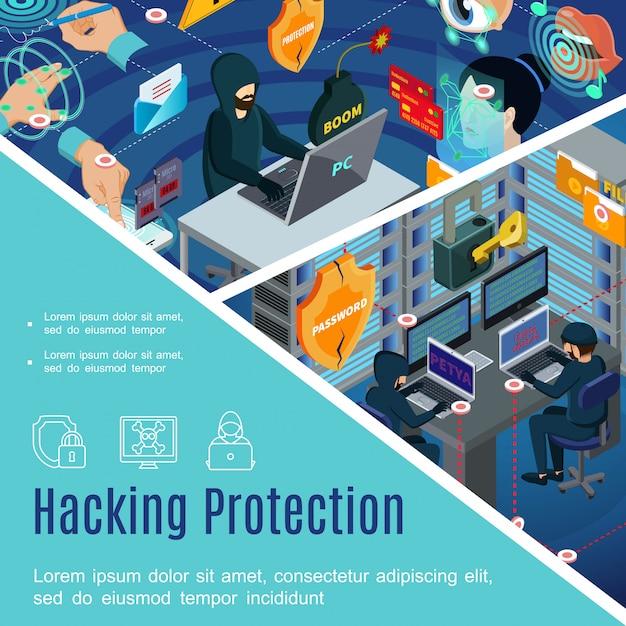 アイソメトリックスタイルのアンチウイルスパスワードによる生体認証のセキュリティと保護テンプレートのハッキング 無料ベクター