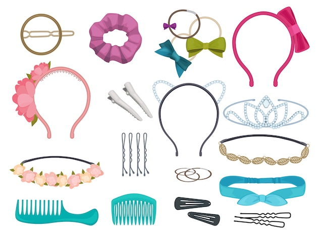 Hair accessories. woman hair items stylist salon flowers elastic bands bows hoops cartoon illustrations Premium Vector