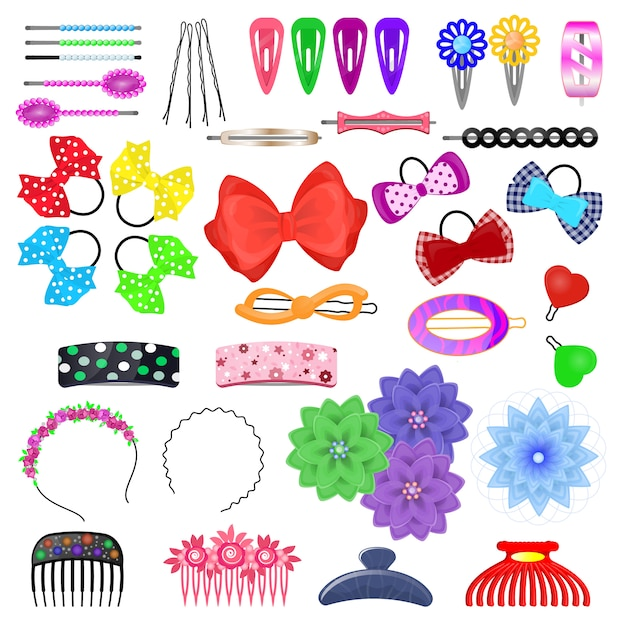 Hair accessory vector kids hairpin or hair-slide and hair-clip ponytailer for girlish hairstylend Premium Vector