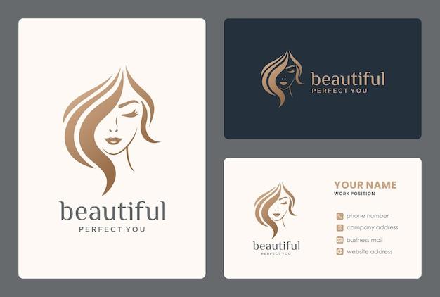 サロン、変身、ヘアスタイリスト、美容師、ヘアカットのヘアビューティーロゴ。 Premiumベクター