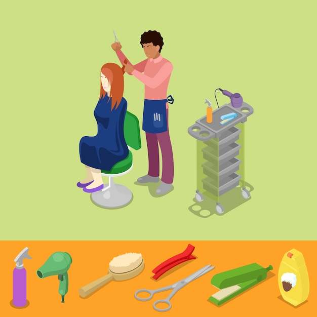 Hair beauty salon barber makes girl hairstyle isometric concept. vector 3d flat illustration Premium Vector