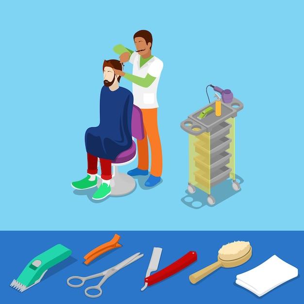 Hair beauty salon barber makes man hairstyle isometric concept. vector 3d flat illustration Premium Vector