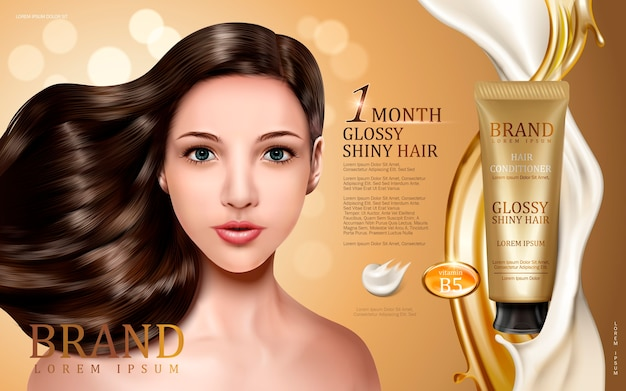 モデルの顔、金色とクリーミーな流れ、ボケ味の背景を持つチューブに含まれているヘアコンディショナー Premiumベクター