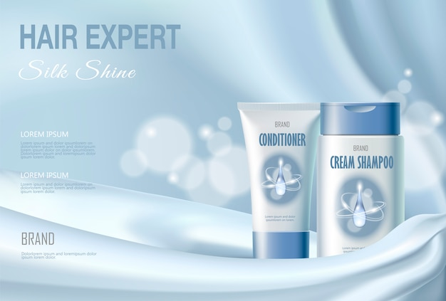 Hair cosmetic ad shampoo moisturizing conditioner moisturizing. light blue Premium Vector