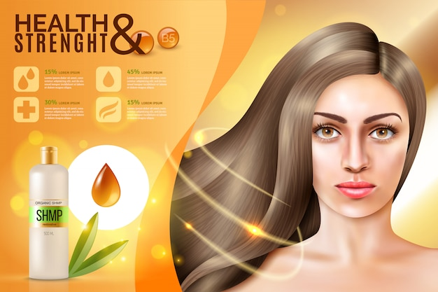 Hair cosmetics background Free Vector