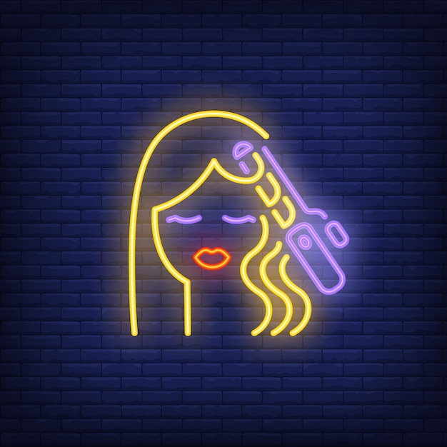 Hair curler curling woman hair neon sign Free Vector