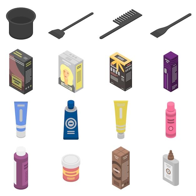 Hair dye icons set, isometric style Premium Vector